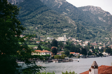 Lake Como and houses in Italy