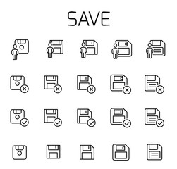 Save related vector icon set