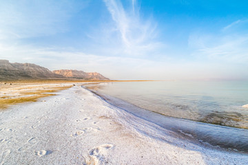 Salty coast of the Dead Sea.