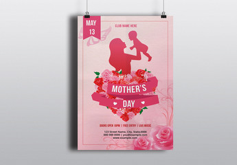 Mother's Day Flyer Layout with Mother and Baby Silhouette