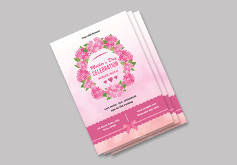 Mother's Day Flyer Layout with Pink Flower Wreath