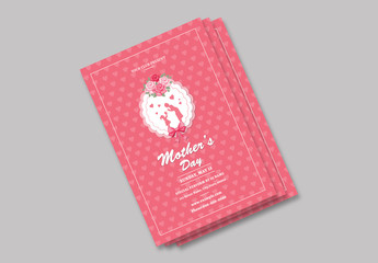 Mother's Day Flyer Layout with Pink Heart Background