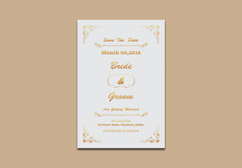 Save The Date Card Layout with Orange Gradient Accents