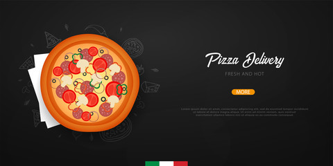 Pizza food menu for restaurant and cafe. Design banner with hand-drawn graphic elements in doodle style. Vector Illustration
