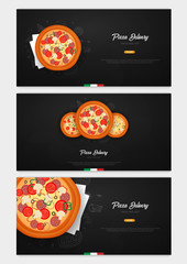 Set of Pizza food menu for restaurant and cafe. Banner with hand-drawn graphic elements in doodle style. Vector Illustration