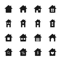 Houses silhouettes icons set