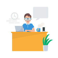 Vector illustration of a man sitting at the table in the office with a speech bubble
