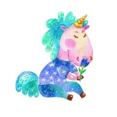 Cute Cartoon Watercolor Spring Green Unicorn with a flower Illustration.Comic Character Image. Hand Drawn Colorful Unicorn Image Isolated On White Background.Perfect For Children Book,Shop,Print