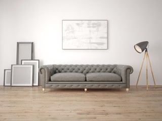 Mock up a modern living room with a classic sofa and a white background.