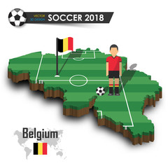 Belgium national soccer team . Football player and flag on 3d design country map . isolated background . Vector for international world championship tournament 2018 concept