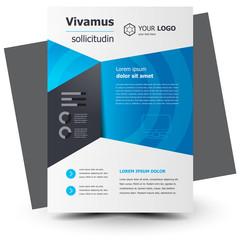 Flyer brochure design template geometric theme blue color