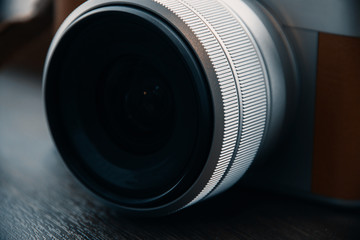 Close up of digital camera lens