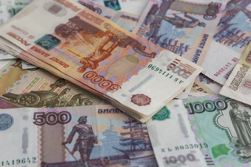 Russian money. Banknotes 500 rubles, 1000 rubles, 5000 rubles