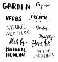 Lettering set for natural products