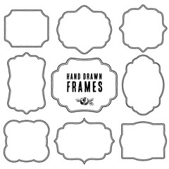 Set of vintage contour blank frames and labels. Hand drawn vector illustration.