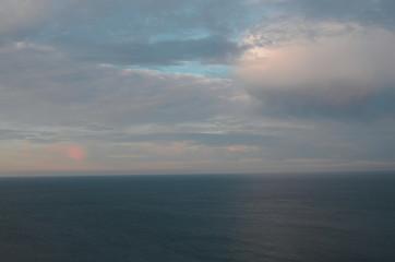 Black sea evening Beautiful sky in sunset. Dark sea.