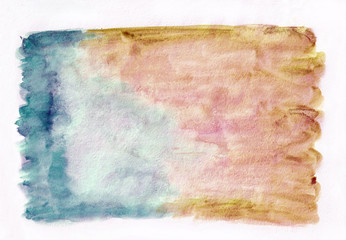 Dark cerulean (teal) and bronze (ochre) thw abstract watercolor background. It's useful for greeting cards, valentines, letters.  Horizontal gradient art style handicraft pattern.
