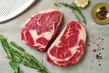 Printed kitchen splashbacks Meat Two raw ribeye steak