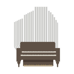small room organ wooden brown and gray with two keyboards for hands and one for legs isolated on white background