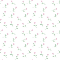 sweet light cute pink roses with leaves on white background seamless pattern