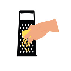 grater with woman hand illustration
