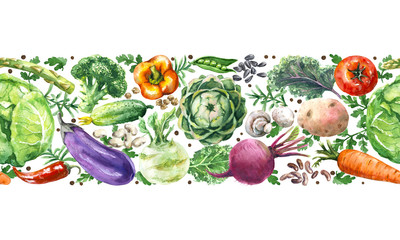 Watercolor Vegetables Horizontal  Seamless Pattern