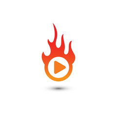 Burn play button multimedia logo graphic template