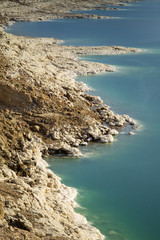 salted coastline of dead sea in Jordan