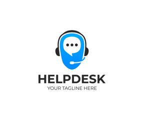 Helpdesk logo template. Support service vector design. Call center logotype