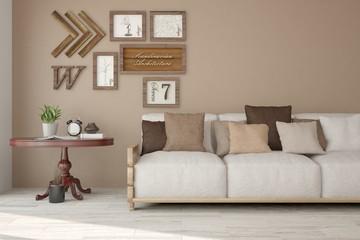 Idea of white minimalist room with sofa. Scandinavian interior design. 3D illustration