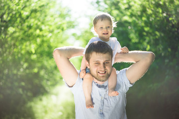 father with son having fun outdoors