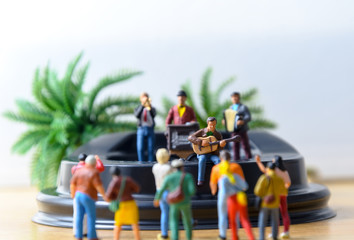 miniature musician vintage musical band on stage with audience