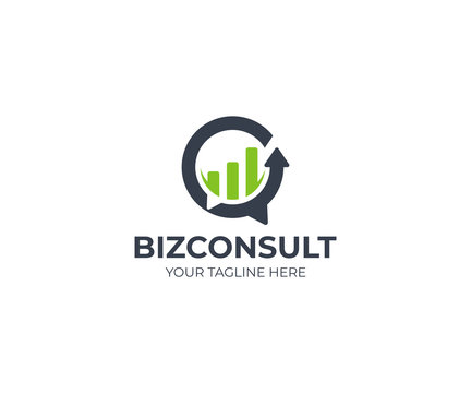 Business consulting logo template. Speech bubble and growth graph vector design. Consult logotype