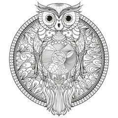 Circle zendala with owl. Zentangle. Hand drawn foliage mandala on isolation background. Abstract wallpaper with bird. Design for spiritual relaxation for adults. Zen art. Print for t-shirts, textiles