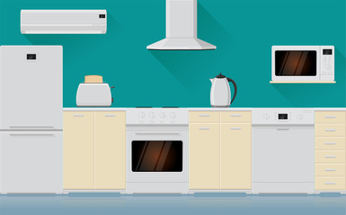 Kitchen interior with home appliances
