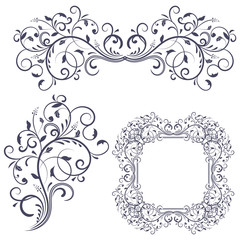 Floral decorative frame and ornaments. Wedding invitation decoration
