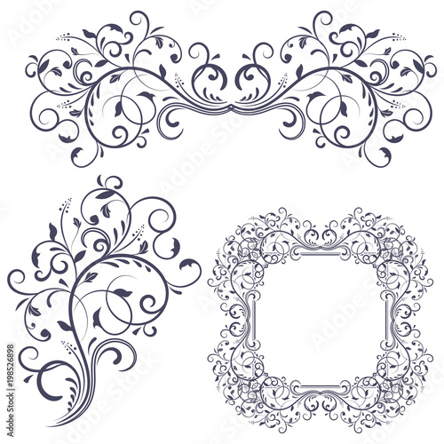 Floral decorative frame and ornaments wedding invitation decoration floral decorative frame and ornaments wedding invitation decoration stopboris Gallery