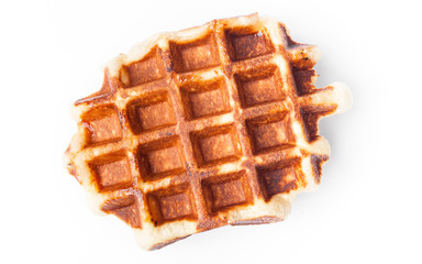 Belgian waffles on white background