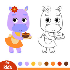 Coloring book, Hippo and a cake