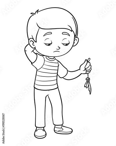 Coloring book, Sad boy hold burst balloon\