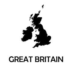 United Kingdom,UK,Great Britain black map,border