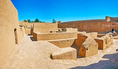 Among the ruins of adobe fortress, Rayen, Iran