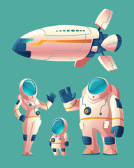 Vector spaceman family, people in spacesuit - woman, man, child with space ship, shuttle. Colonization concept, colony on planet, star. Cosmonauts, astronauts in futuristic clothes