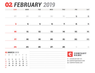 Calendar template for February 2019. Business planner. Stationery design. Week starts on Sunday. 2 Months on the page. Vector illustration