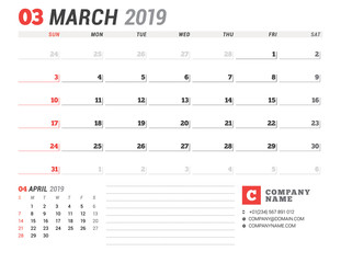 Calendar template for March 2019. Business planner. Stationery design. Week starts on Sunday. 2 Months on the page. Vector illustration