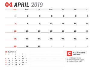 Calendar template for April 2019. Business planner. Stationery design. Week starts on Sunday. 2 Months on the page. Vector illustration