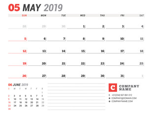 Calendar template for May 2019. Business planner. Stationery design. Week starts on Sunday. 2 Months on the page. Vector illustration