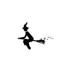 witch on a broomstick icon.Element of popular magic icon. Premium quality graphic design. Signs, symbols collection icon for websites, web design,
