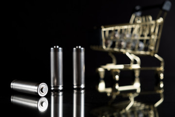 Used AA batteries with Shopping cart. With copy space