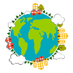 Earth with buildings icon. Earth day